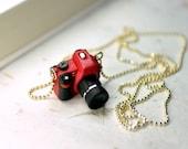 Nikon D3100 Red DSLR Camera miniature necklace