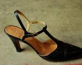 on hold for sandra vintage 1950s-1960s BLACK T-STRAP SHOES size 8.5