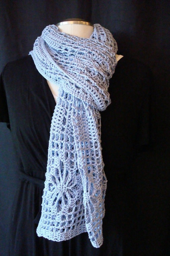 Crocheted Wrap- Periwinkle Wedding Shawl, Stole, Rectangular Shawl,  Crochet Flower Pattern, Filet Crochet, Periwinkle, Crochet, Cotton