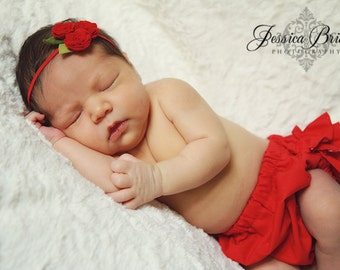 Felt Flower Headband - A Bouquet of Roses in Red  - Newborn  Baby to Adult