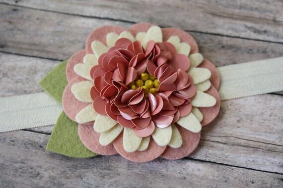 Sequin Felt Flower Headband- Blush Pink and Cream - Headband or Hair Clip - Newborn to Adult