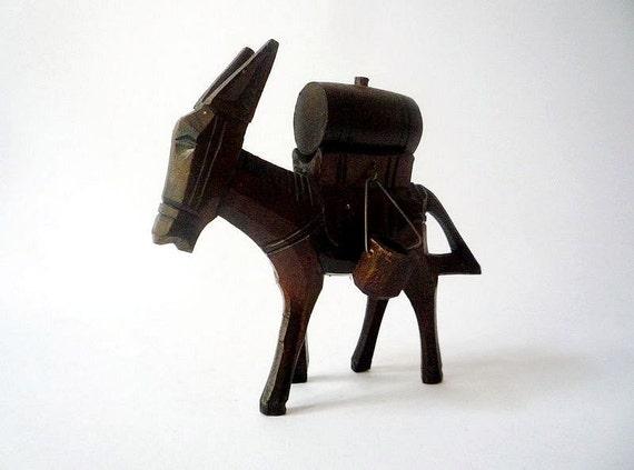 Vintage Handcarved Wooden Donkey Figurine