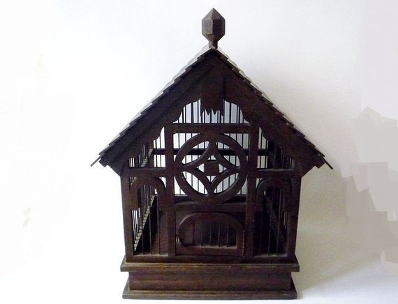 Vintage Birdcage Made of Wood