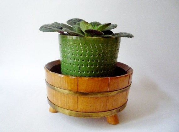 Vintage Small Wooden Planter Tripod