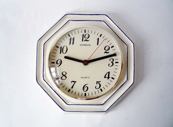 Vintage Ceramic Wall Clock from Dugena Made in Germany
