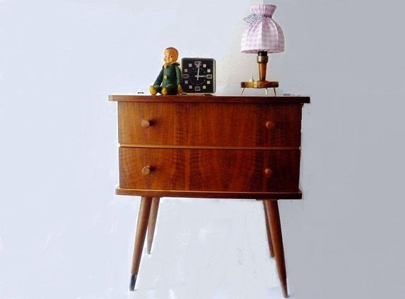 RESERVED - Mid Century Side Table with Drawers