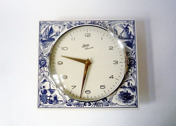 Antique Ceramic Wall Clock from Schatz Made in Germany