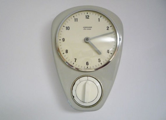 Vintage German Wall Clock with Eggtimer from Junghans