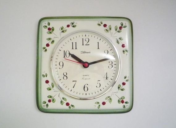 Vintage German Ceramic Wall Clock from Meister Anker