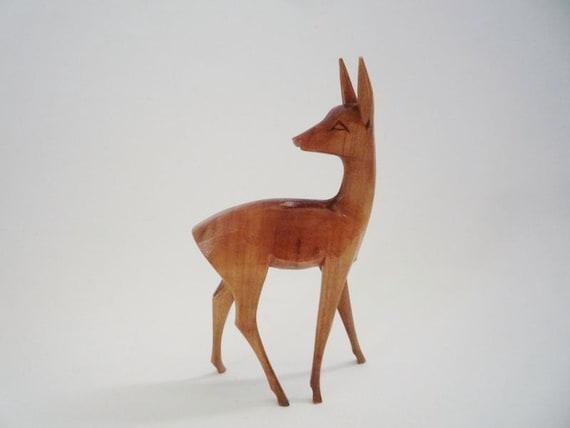 Vintage Wooden Handcarved Deer