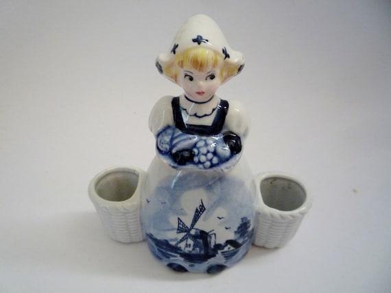RESERVED - Vintage Ceramic Delft Blue Girl Figurine