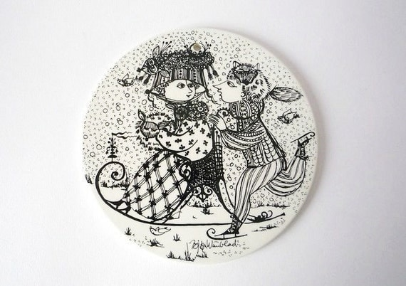 Pottery Wall Plaque by Bjorn Wiinblad for Nymolle 1970s (January)