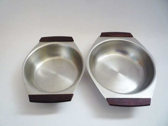 Pair of Vintage Stainless Steel and Teak Dishes