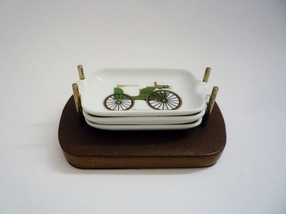 Mid Century Set of Ashtrays with Antique Cars Pattern