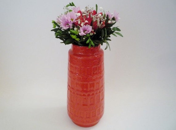 Vintage Scheurich Inka West German Vase in Orange