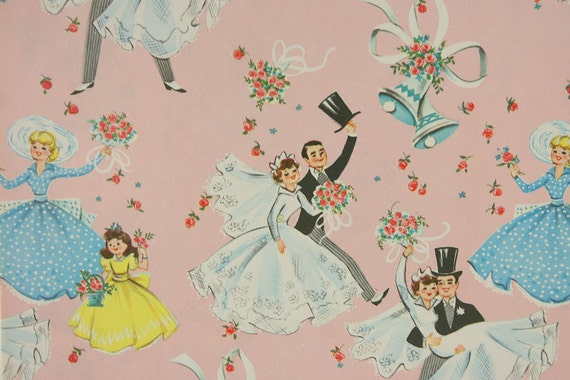 RESERVED 2 Sheets of Vintage Wedding Gift Wrapping Paper