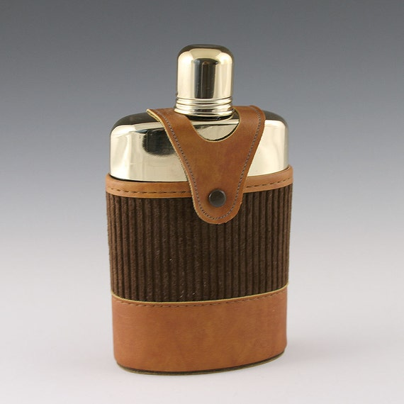 Vintage Glass Flask with Faux Leather Sheath and Gold Collar