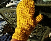 Crochet Mittens - Mustard Color