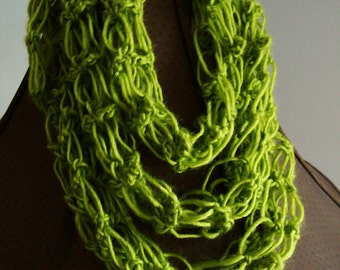 Crochet Thinfinity Scarf - Chartreuse