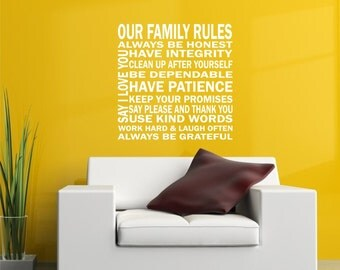 Our Family Rules Vinyl Lettering