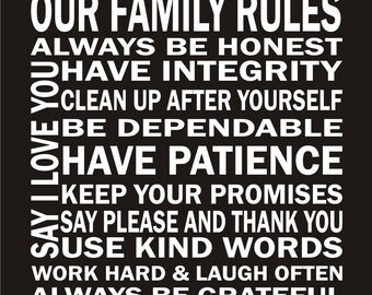 Our Family Rules Vinyl Lettering - Vinyl Decal - Vinyl Wall Art