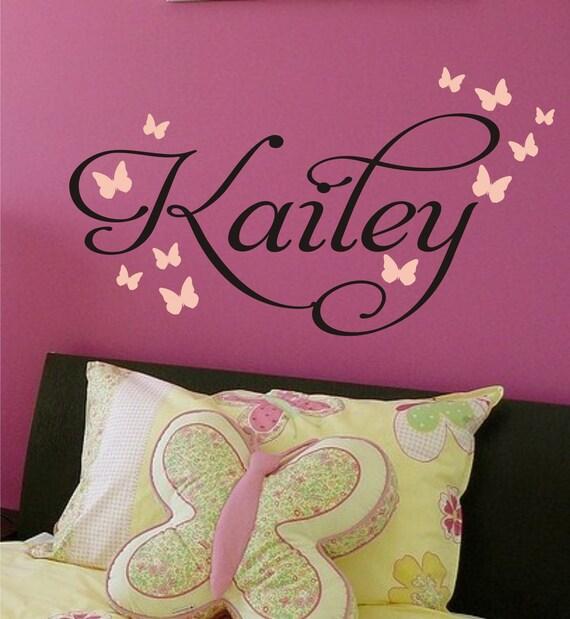 Childrens Decor Butterflies Nursery Monogram Vinyl Decal - Vinyl Lettering - Vinyl Wall Art - Baby Wall Decal - Girls Wall Decal