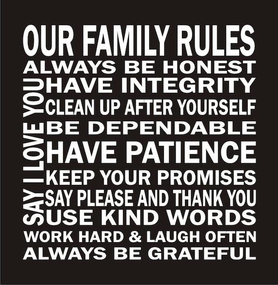 Our Family Rules Vinyl Lettering - Vinyl Decal - Vinyl Wall Art