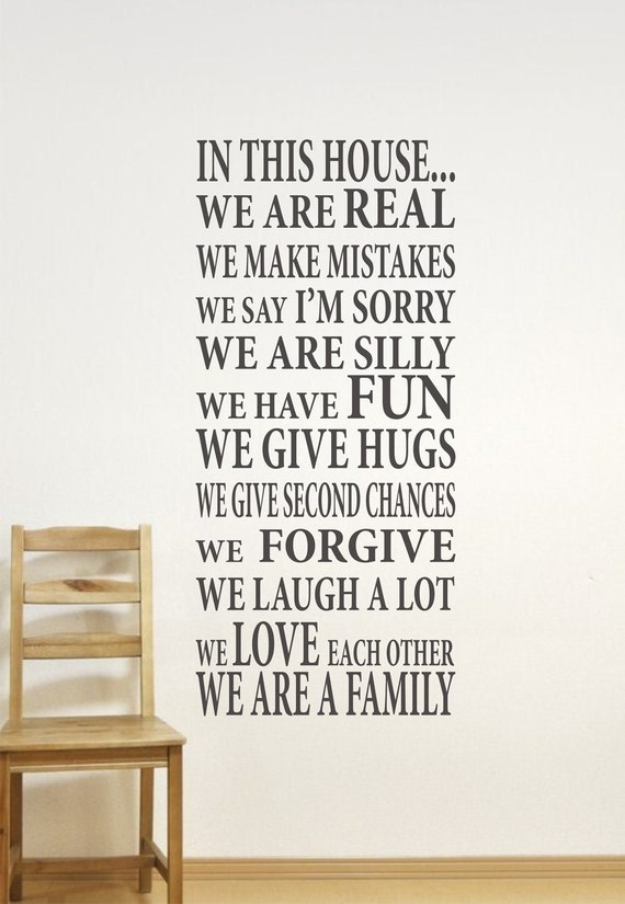 In This House Home Decor Family Wall Decal We Are Family