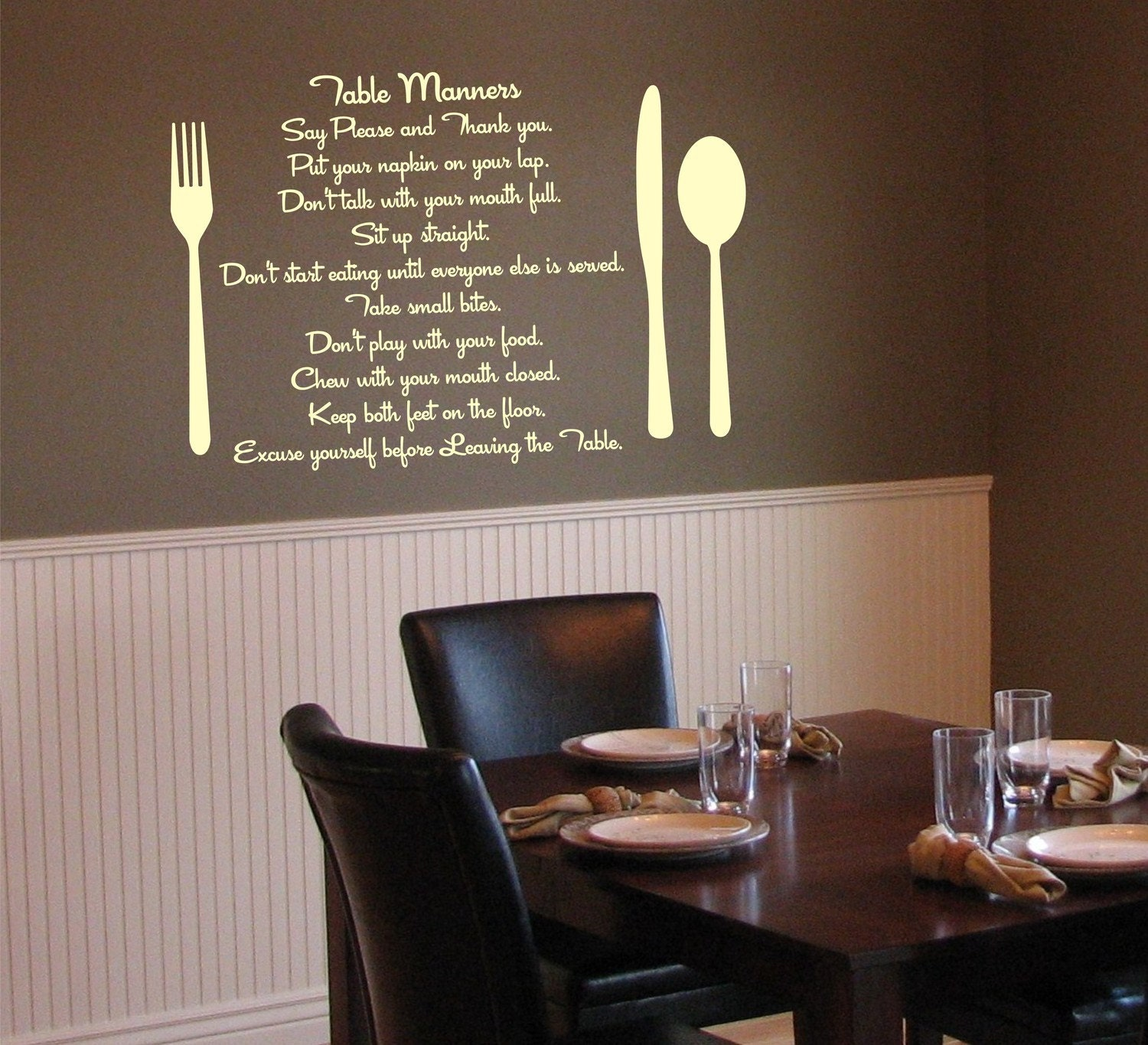Items similar to table manners kitchen or dining room for Kitchen dining room wall decor