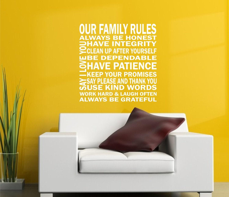 Our Family Rules Vinyl Lettering