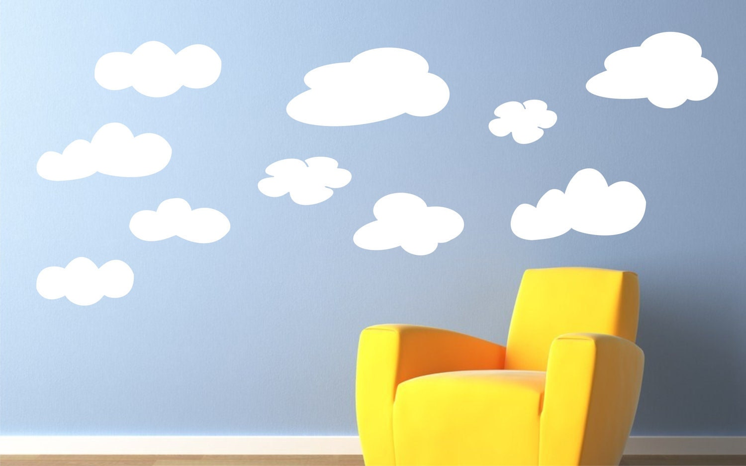 Cloud wall decals fluffy clouds kids wall decals vinyl zoom amipublicfo Choice Image