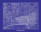 Chicago Fire Street Map Vintage Print Poster - blueprint Blue