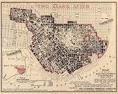 San Francisco Earthquake Fire Map Vintage Print Poster