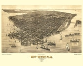 1884 Panoramic Birds Eye View Map of Key West Print Poster