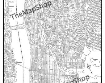 New York City Map Manhattan Street Map Vintage Print Poster