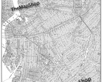 Brooklyn Street Map - -Poster Print Vintage