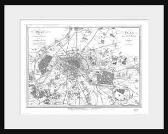 Paris Map Vintage Map - Print Poster
