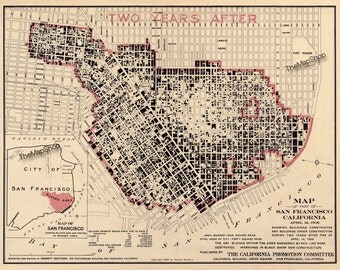 San Francisco Earthquake Fire Map Vintage Print Poster