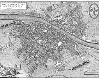 Florence Italy Street Map  Black and White Vintage