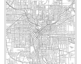 1927 Atlanta Street Map Vintage Print Poster