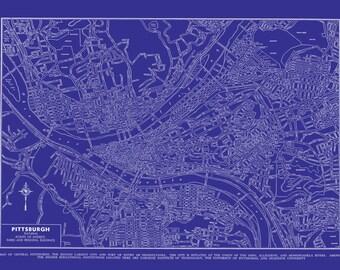 Pittsburch Map - Street Map Vintage Blueprint