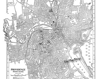 Providence Rhode Island - Street Map - Vintage
