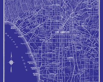 Los Angeles Map - Street Map Vintage Blueprint Print Poster