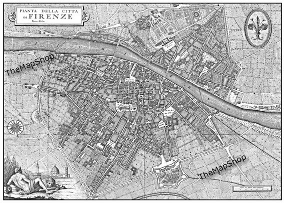 Vintage Florence Italy Street Map  Black and White Print Poster