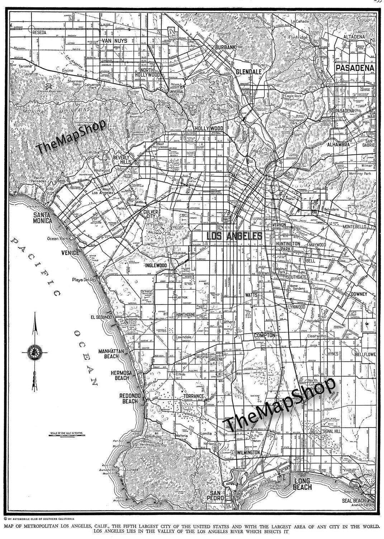 Los Angeles Map Street Map Vintage - Los angeles map vintage