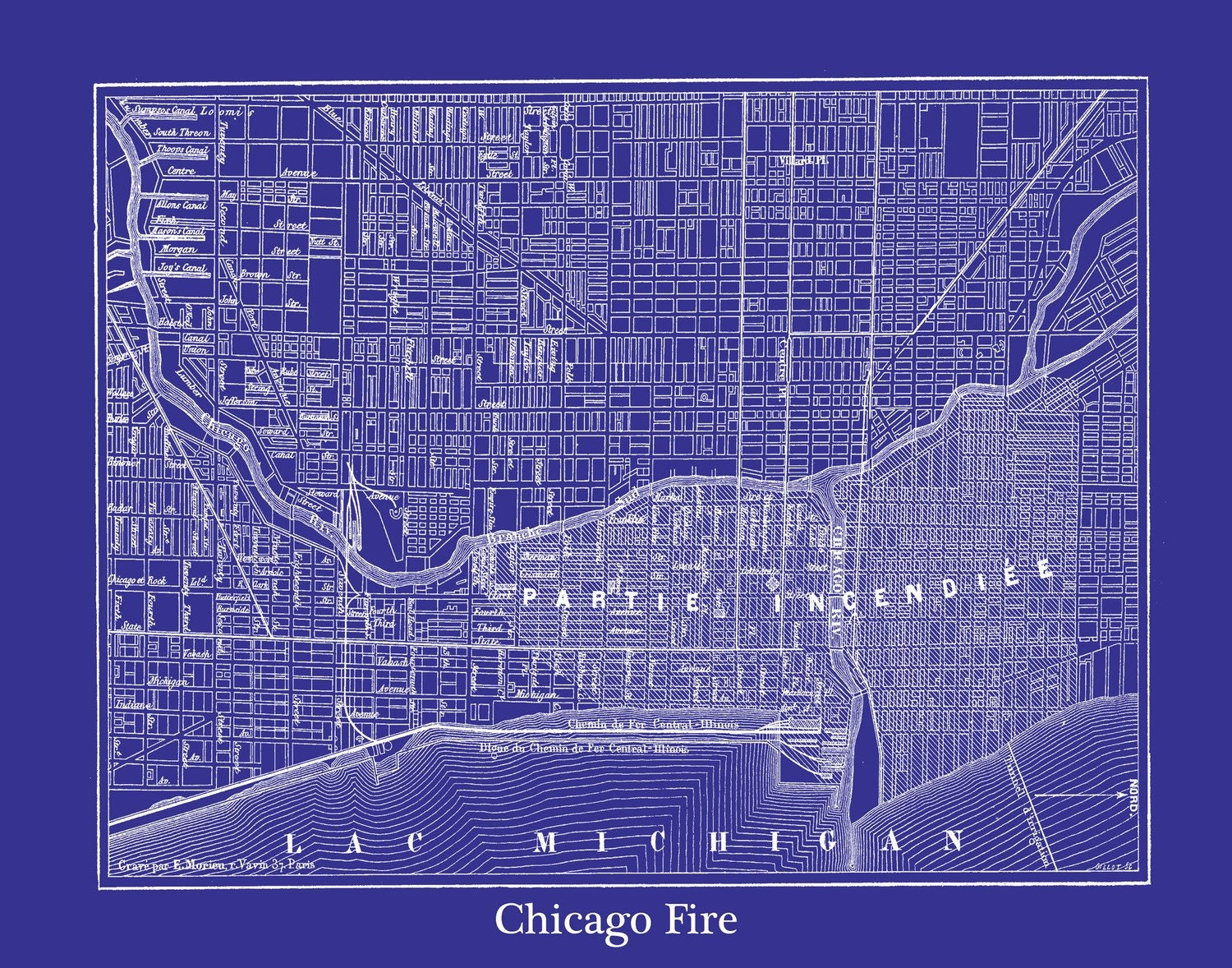 Chicago Fire Street Map Vintage Print Poster Blueprint Blue