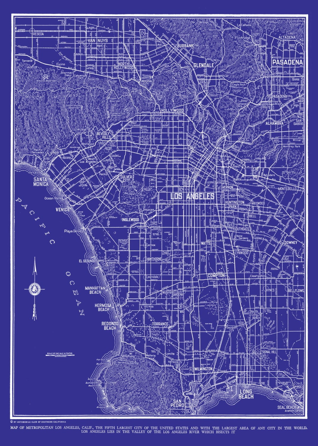 Los Angeles Map Street Map Vintage Blueprint Print Poster