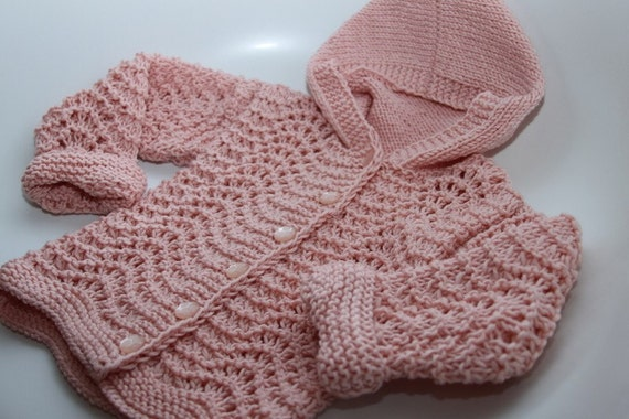Hand knit airy-fairy girls hooded jacket