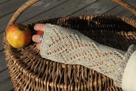 Lacey fingerless gloves,handwear, wristwarmers- 100% cotton.