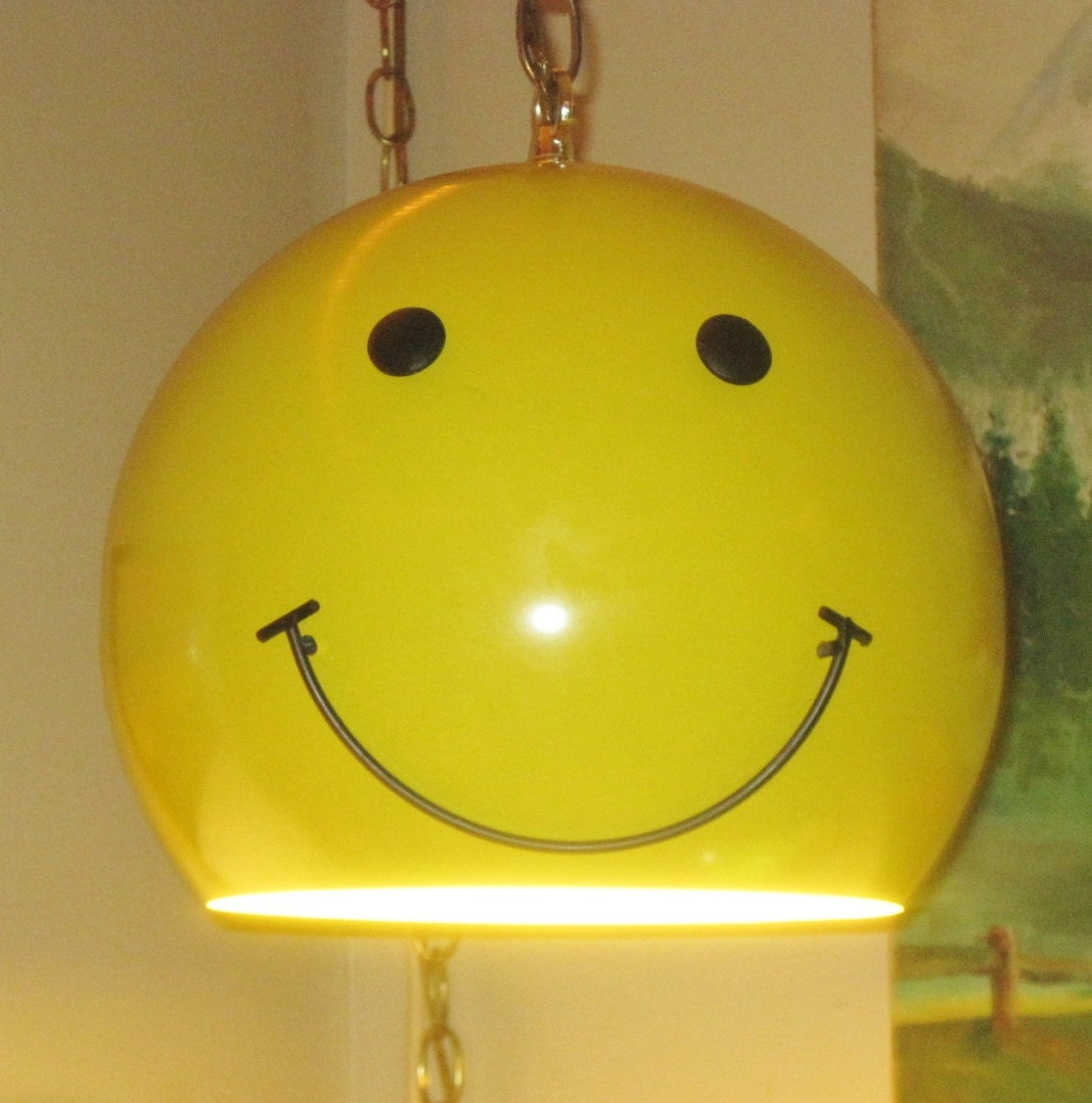 Vintage Smiley Face Swag Light 1970 S Metal Globe Have A